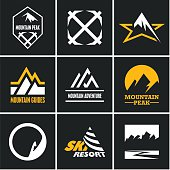 Mountain icons set. Mountain climbing. Climber. Ski Resort labels.