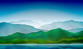 Mountain lake landscape, colorful nature background. Blue mountain green hills landscape. Vector background.