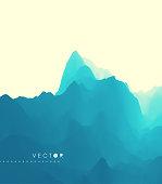 Mountain Landscape. Mountainous Terrain. Vector Illustration. Abstract Background.