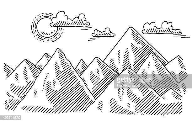 Paisaje de montaña soleado clima de dibujo