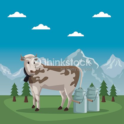 Mountain landscape valley poster of switzerland with cow animal and metal jars of milk