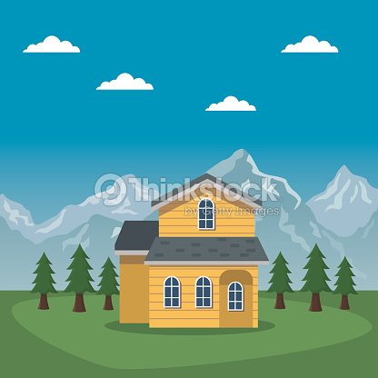 Mountain landscape valley poster of switzerland with facade house