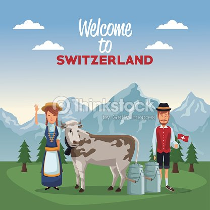 Mountain landscape valley poster of welcome of switzerland with people of traditional costume and cow with metal jars