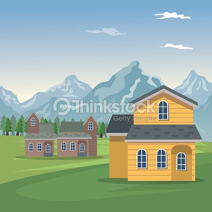 Mountain landscape valley poster with forest and closeup facades houses