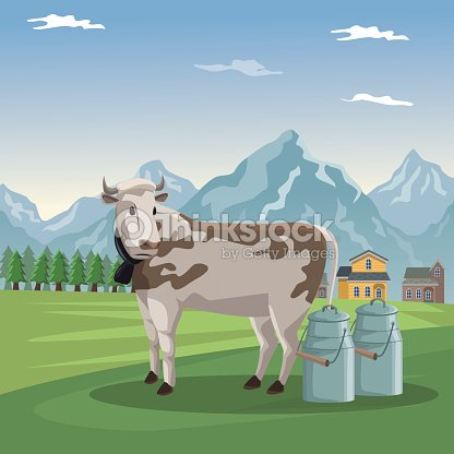 Mountain landscape valley poster with forest and facades houses and closeup cow animal and metal jars of milk