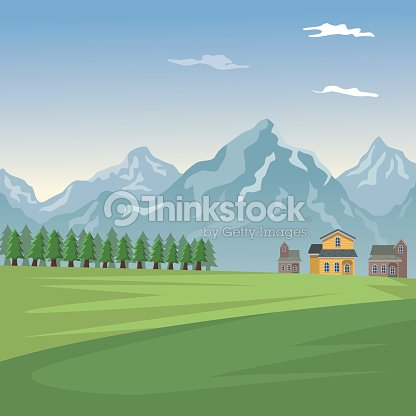 Mountain landscape valley poster with forest and facades houses