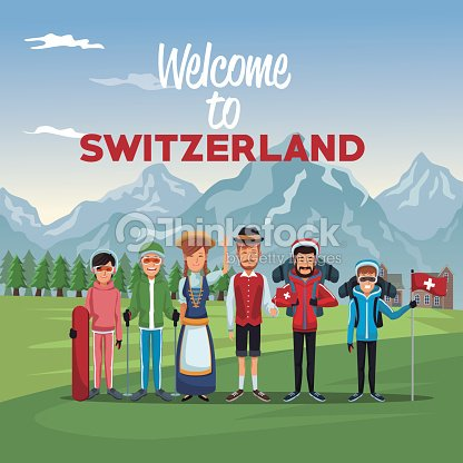 Mountain landscape valley poster with skiers tourist and traditional people with text welcome to switzerland