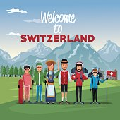 mountain landscape valley poster with skiers tourist and traditional people with text welcome to switzerland vector illustration