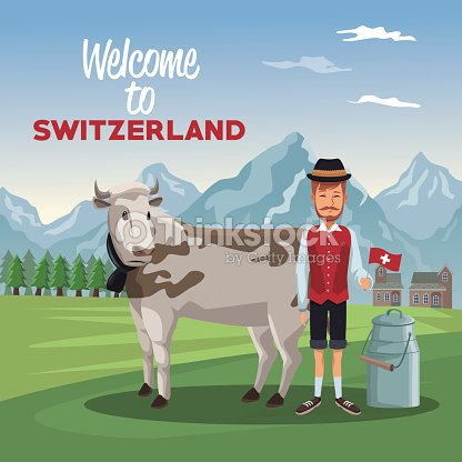 Mountain landscape valley poster with traditional man with cow animal and metal jars with milk and text welcome to switzerland