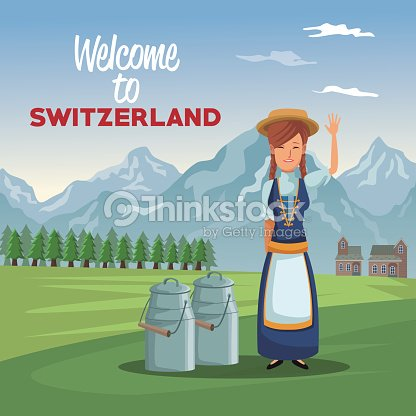 Mountain landscape valley poster with traditional woman with metal jars with milk and text welcome to switzerland