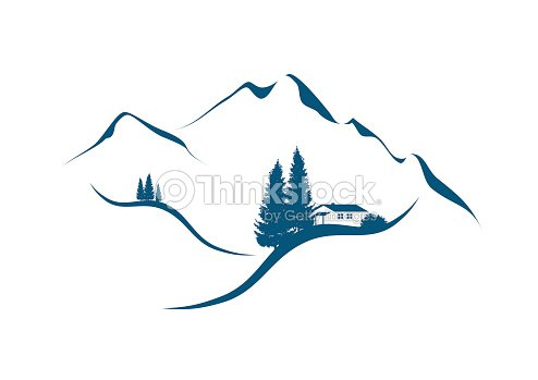 Mountain Landscape With Cottage An Firs Vector Art