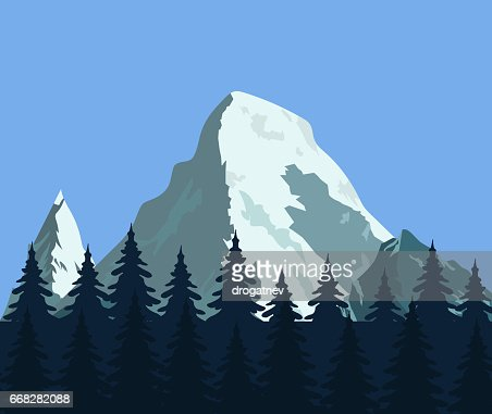 Mountain landscape with forest and rocks : stock vector
