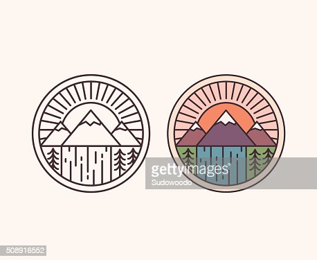 Mountain line emblem : stock vector
