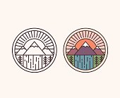 Vector mountain with waterfall, outline style and colored. National park emblem badge vector illustration.