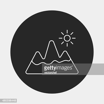 mountain line icon : Vector Art