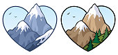 Concept illustration for love of mountains and nature, in 2 versions.
