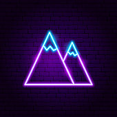 Mountain Neon Label. Vector Illustration of Nature Promotion.