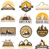 Mountain outdoor vector icons set camping travel logo labels, climbing and hiking badges