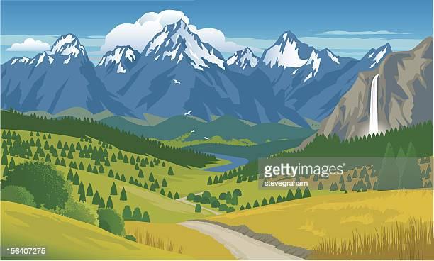 Panorama de las montañas, con cascada