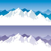 Background with snowy mountain range in 2 color versions. You can extend the white part below the peaks and use it for typing text.