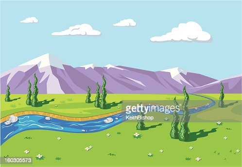 Mountain Range with River or Stream Background : Vector Art