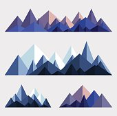 Mountains low poly style illustration. Vector set of origami mountain ridges. Triangular abstract landscape. EPS 10