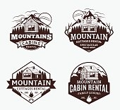Set of vector mountain recreation and cabin rentals labels. Mountains and travel icons for tourism organizations, outdoor andventures and camping leisure