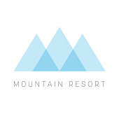 Mountain Resort   template. Blue triangle shape  type for business or travel company. Vector illustration.