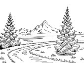 Mountain river road graphic black white landscape sketch illustration vector