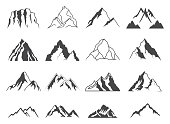 Set of sixteen vector mountain shapes for icons. Camping mountain icon, travel labels, climbing or hiking badges