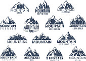 Mountain sport climbing and hiking tourism icons set. Vector isolated symbols of Alpine rocks and mount snow peaks for climber or explorer expedition adventure or camping trip and mountaineering