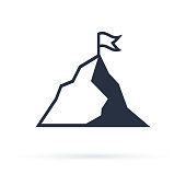 Mountain with flag vector icon illustration isolated on white background. Success icon. Peak of mountain as aim achievement or leadership illustration.