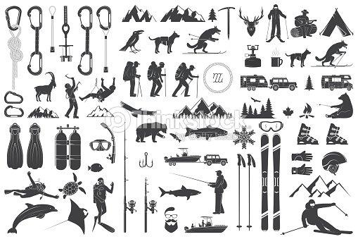 bf88e3b0096 Montañismo, senderismo, escalada, pesca, esquí y otros iconos de aventura :  arte