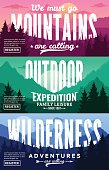 Mountain and outdoor adventures horizontal banner set. Mountains landscapes with trees, mountains, clouds and sky in various times of day vector illustration