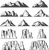 Set of vector icons of montains and cliffs