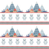 Decorative seamless pattern in folk style with owl. Colorful vector background.