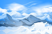 Beautiful mountains peak with snow scene vector nature landscape background.Illustration is an eps10 file.Digital illustration created without reference image and contains transparency effects
