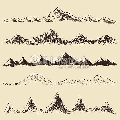 ensemble de montagnes de vecteur main dessine les contours de gravure clipart vectoriel thinkstock. Black Bedroom Furniture Sets. Home Design Ideas