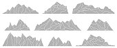 Mountains silhouettes isolated on the white background. Panoramas of rocks. Vector set for landscape design.