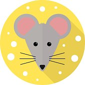 House mouse and cheese icon in flat style with long shadow, web icon, isolated on the white background