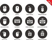Mouse and keyboard vector icons set. Computing and technology concept, scroll, wired and wireless mice, different keyboards, clicks, keypads. Isolated on white background