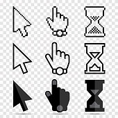 Mouse Cursor Icon Set - Pixel and Smooth Arrows, Hands and Hourglasses Clocks Isolated on Transparent Background. Vector Illustration.