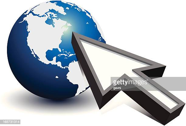 Mouse pointer pointing to earth globe