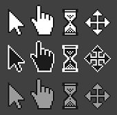 A set of old style, pixelated mouse cursors.