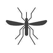 Mousquito outline icon. Bloodsucking midge silhouette vector illustration.