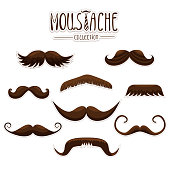 Moustache set collection used for photo booth props objects or party. Vector colored illustration isolated on white background