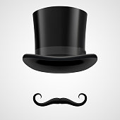 d31cc4ede34 curly retro moustaches and top hat elements. mysterious victorian  aristocrat on grey bacground