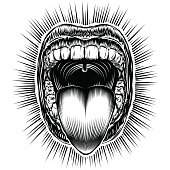 Open mouth with teeth and sticking tongue out. Screaming shouting yawning mouth with jaw drop. Vector illustration in vintage ink hand drawing black and white retro style for stamp, tattoo, print.