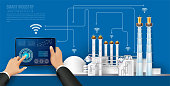 Move to factory and industry in the future. People connecting with a factory using smartphone and exchanging data with a neural network. Smart industry 4.0 infographic. Artificial intelligence.