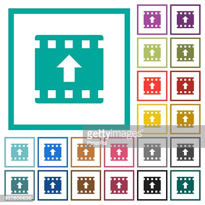 Move Up Movie Flat Color Icons With Quadrant Frames Vector Art